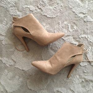 "F21 • Suede pointed booties - 3"" heel"